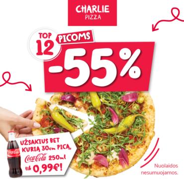 CHARLIE PIZZA. nuolaida TOP 12 didelėms picoms