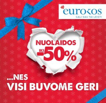 Šventiniai EUROKOS gruodžio pasiūlymai ir nuolaidos